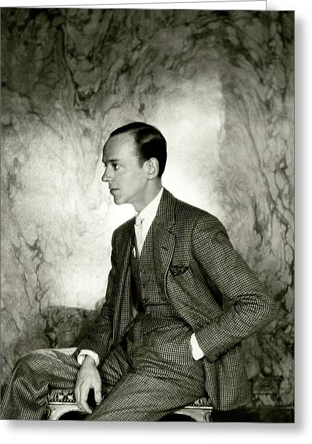 A Portrait Of Fred Astaire Sitting Greeting Card by Cecil Beaton