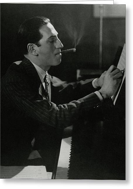 A Portrait Of George Gershwin At A Piano Greeting Card by Edward Steichen