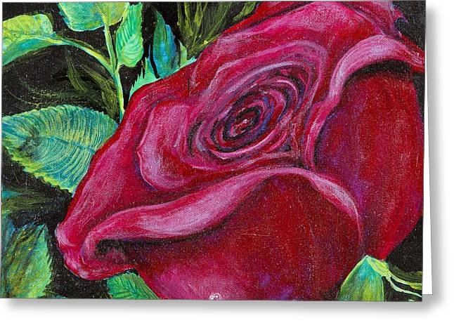Greeting Card featuring the painting A Rose For My Lily by Cathy Long