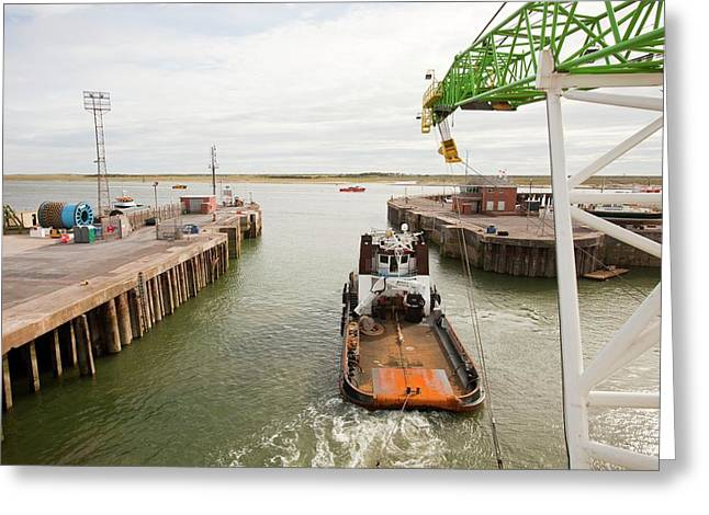 A Tug Boat Towing A Jack Up Barge Greeting Card