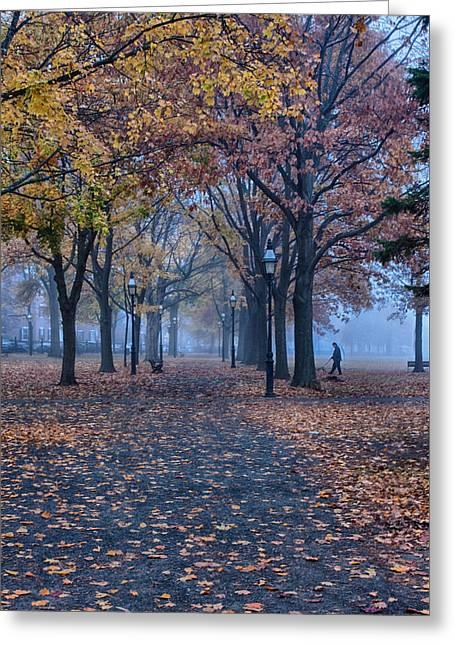 A Walk In Salem Fog Greeting Card by Jeff Folger