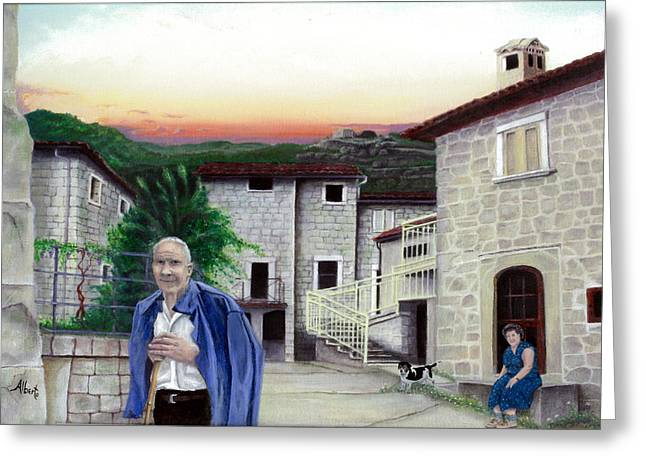 Greeting Card featuring the painting A Walk With Dante by Albert Puskaric