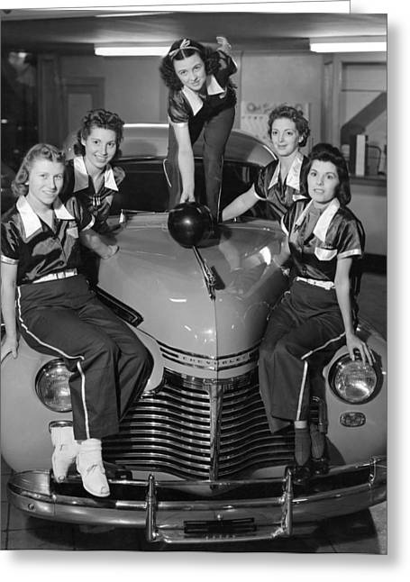 A Women's Bowling Team Greeting Card by Underwood Archives