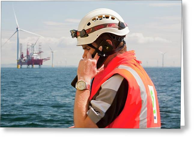 A Worker On A Jack Up Barge Greeting Card