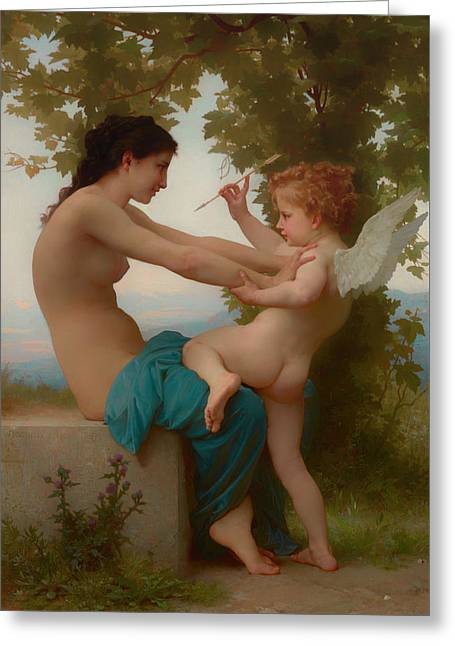 A Young Girl Defending Herself Against Eros Greeting Card by William-Adolphe Bouguereau