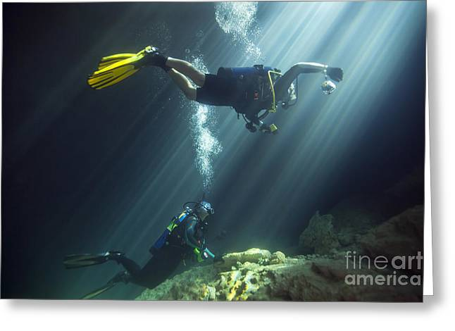 A Young Married Couple Scuba Diving Greeting Card by Michael Wood