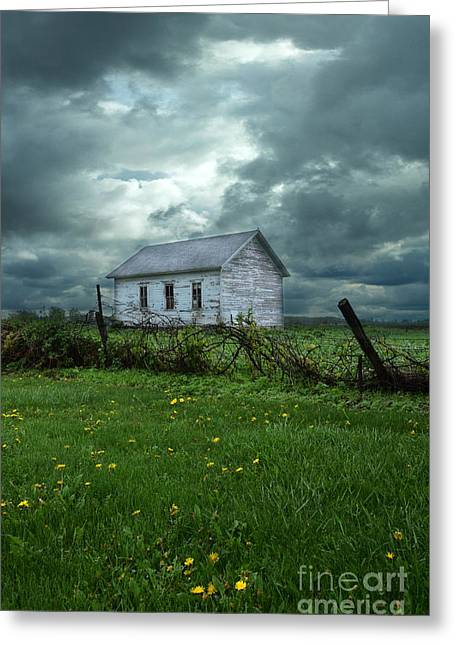 Abandoned Building In A Storm Greeting Card