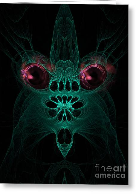 Abstract Artistic Scary Creature Greeting Card by Indian Summer