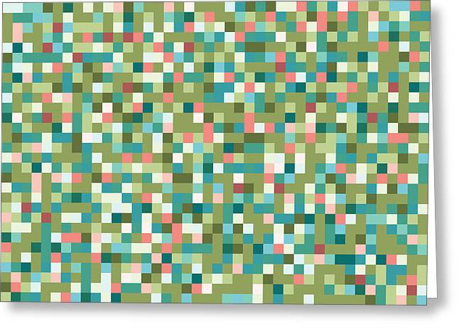 Abstract Pixels Greeting Card by Mike Taylor