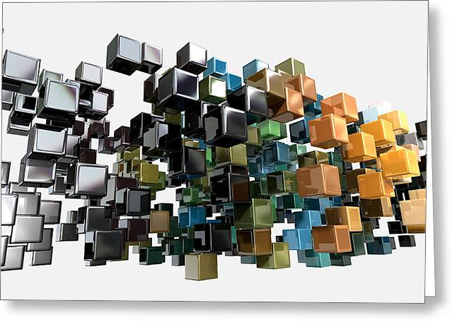 Abstract Shiny Cubes Greeting Card by Allan Swart