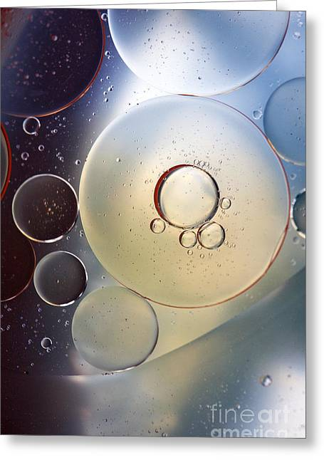 Abstraction Oil Bubbles In Water Greeting Card by Odon Czintos