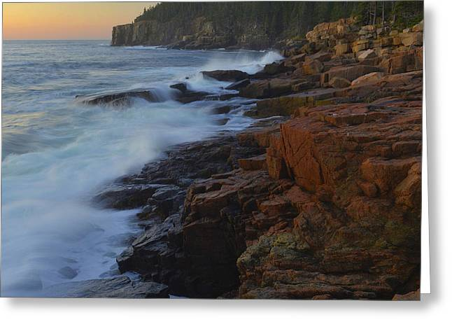 Greeting Card featuring the photograph Acadia Dawn by Stephen  Vecchiotti