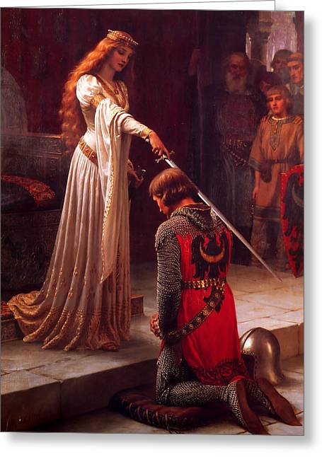 Accolade Greeting Card by Edmund Blair Leighton