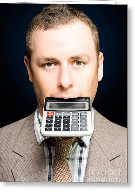 Accountant Number Crunching On Calculator Greeting Card by Jorgo Photography - Wall Art Gallery