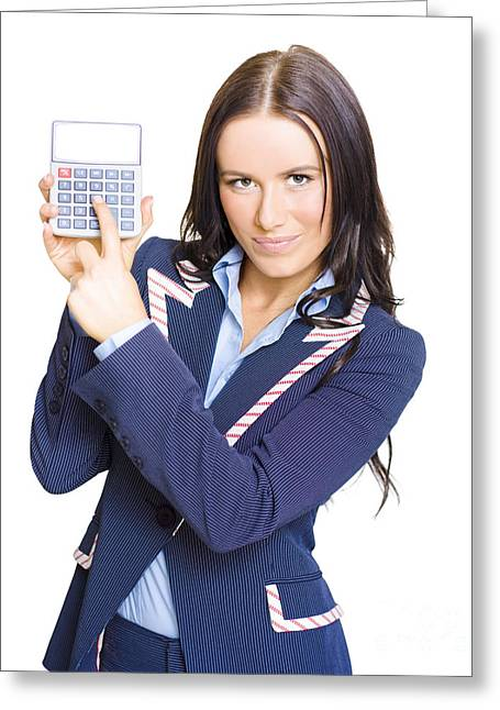 Accountant Pointing To Calculator With Copyspace Greeting Card by Jorgo Photography - Wall Art Gallery