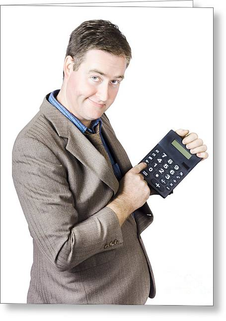 Accounting Business Man Holding Calculator Greeting Card