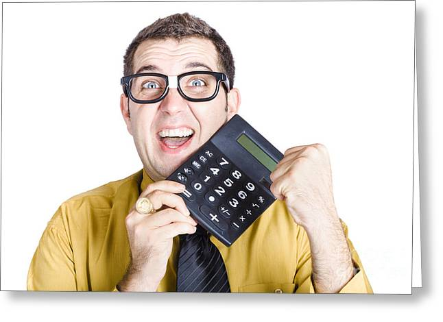 Accounting Man Winning With Calculator Greeting Card by Jorgo Photography - Wall Art Gallery