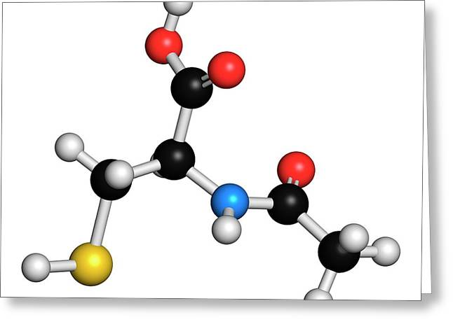 Acetylcysteine Mucolytic Drug Molecule Greeting Card by Molekuul