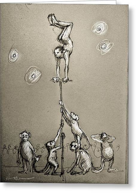 Acrobats Greeting Card by H James Hoff