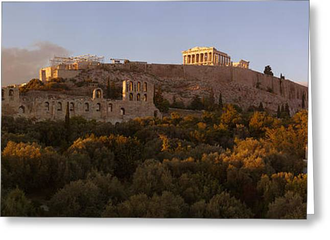Acropolis Of Athens At Dusk, Athens Greeting Card by Panoramic Images