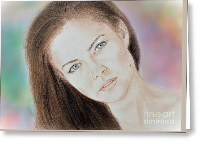 Actress And Model Susan Ward Blue Eyed Beauty With A Mole Greeting Card
