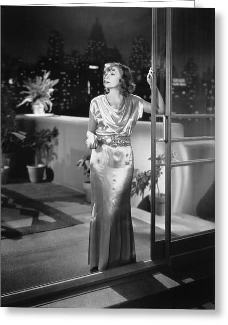 Actress Greta Garbo Greeting Card by Underwood Archives