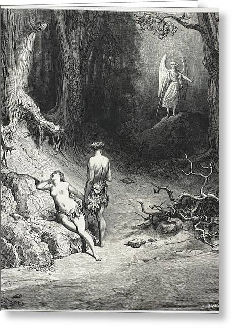 Adam And Eve In The Garden Of Eden Greeting Card