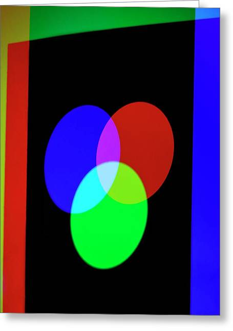 Additive Primary Colours Greeting Card by Science Photo Library