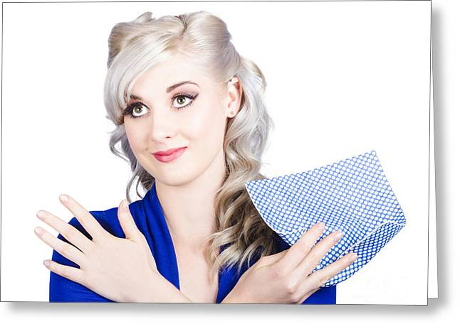Adorable Female Pinup Cleaner Holding Dish Cloth Greeting Card by Jorgo Photography - Wall Art Gallery