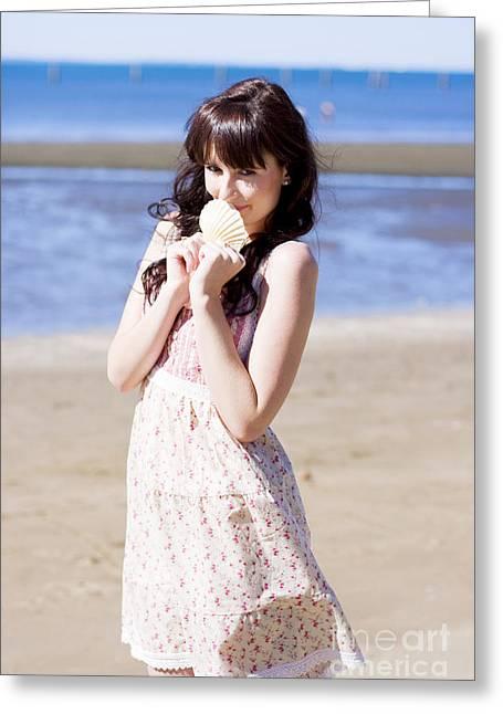 Adorable Seaside Girl Greeting Card
