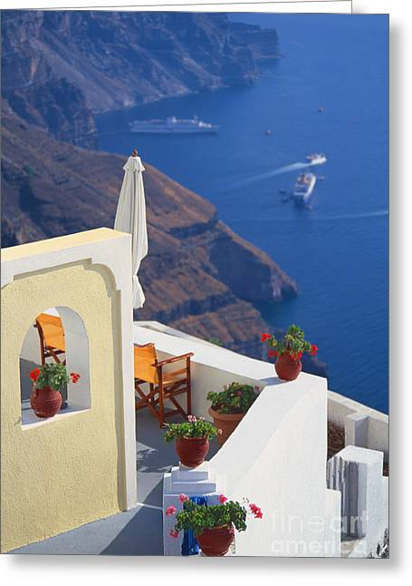 Aegean View Greeting Card by Aiolos Greek Collections