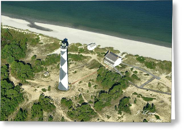 Aerial Of Cape Lookout Lighthouse Greeting Card by James Lewis
