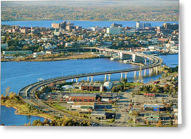 Aerial Of Downtown Portland, Maine Greeting Card