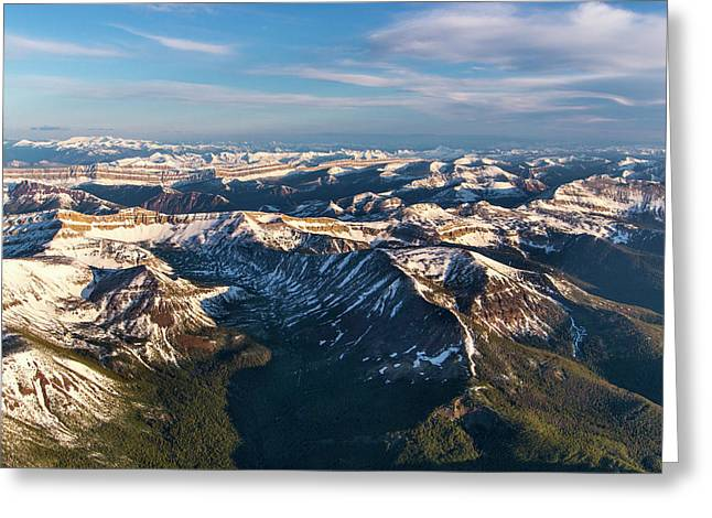 Aerial Of The Rocky Mountains Greeting Card by Chuck Haney