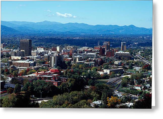 Aerial View Of A City, Asheville Greeting Card by Panoramic Images
