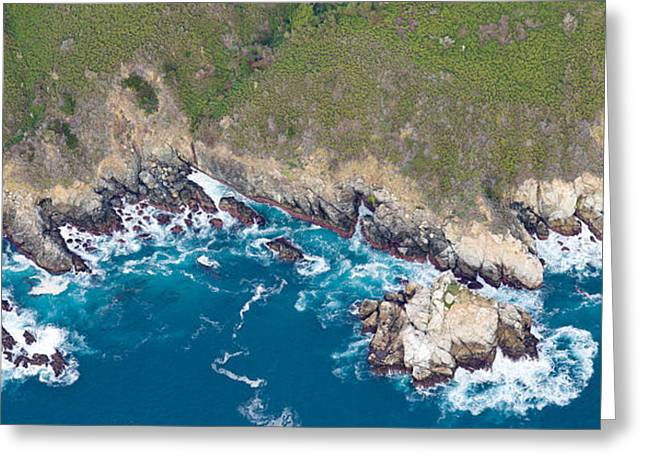 Aerial View Of A Coast, Big Sur Greeting Card by Panoramic Images