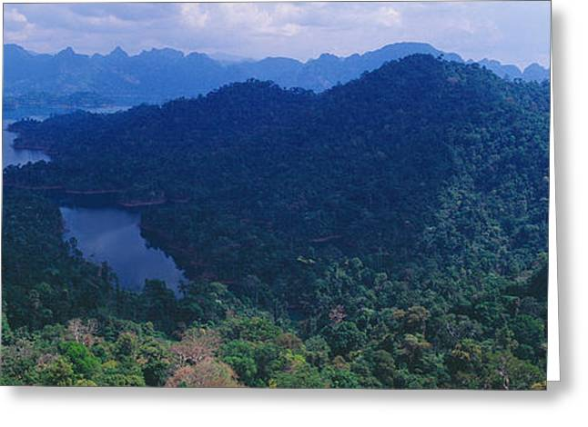 Aerial View Of A Valley, Kao Sok Greeting Card