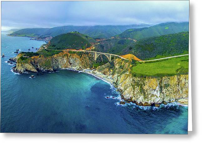 Aerial View Of Bixby Creek Bridge Greeting Card