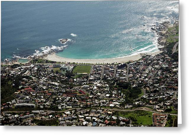 Aerial View Of Camps Bay Seen Greeting Card by Panoramic Images