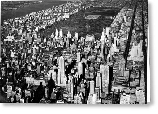 Aerial View Of Central Park Greeting Card by Underwood Archives