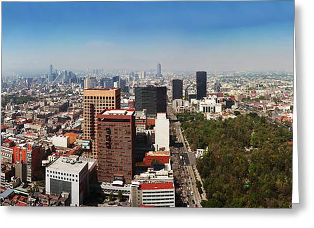 Aerial View Of Cityscape, Mexico City Greeting Card