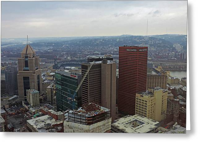 Aerial View Of Pittsburgh Greeting Card by Cityscape Photography