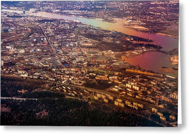 Aerial View Of Riga. Latvia. Rainbow Earth Greeting Card by Jenny Rainbow