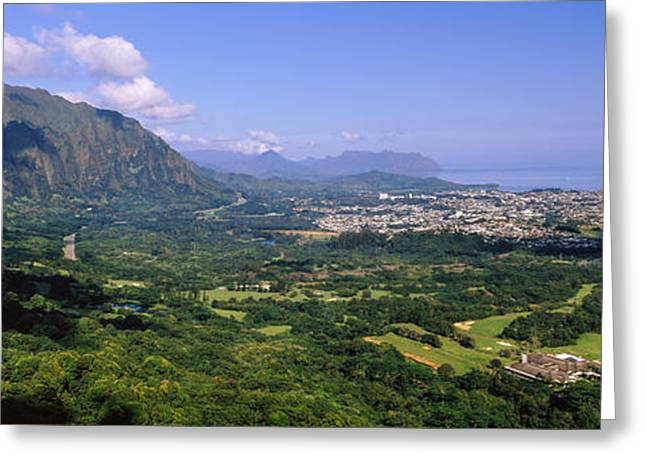 Aerial View Of The Coast, Na Pali Greeting Card