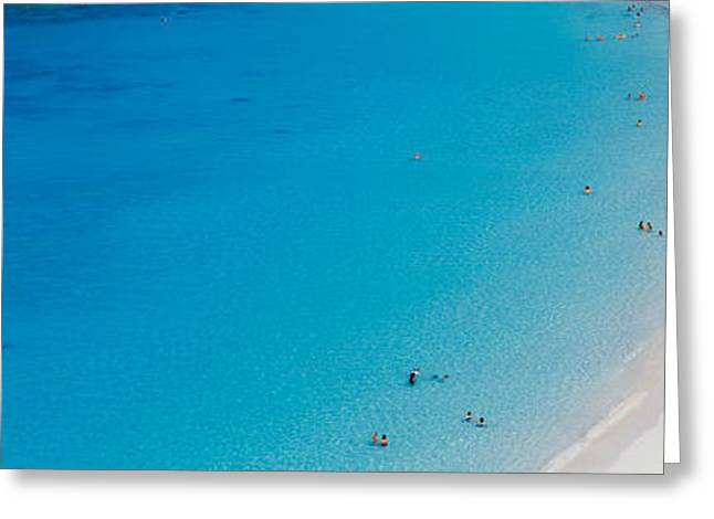 Aerial View Of Tourists On The Beach Greeting Card by Panoramic Images