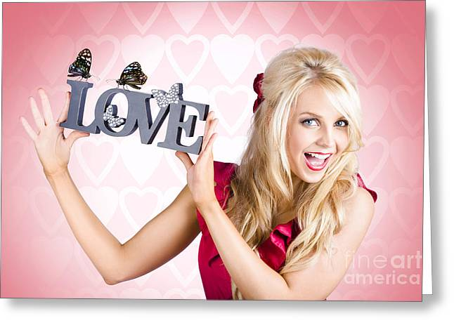 Affectionate Blonde Woman With Love Butterflies Greeting Card