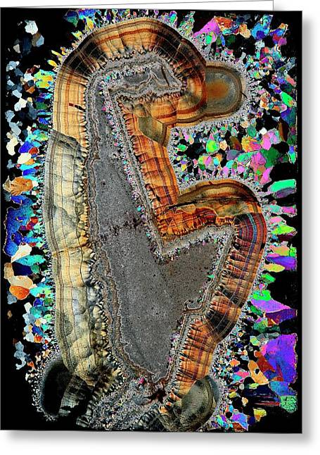 Agate. Polarised Light Micrograph Greeting Card