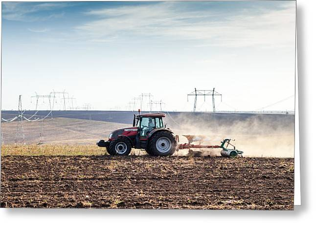 Agriculture Tractor Landscape Greeting Card by Daniel Barbalata