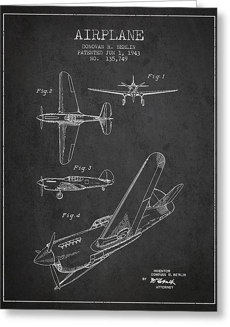 Airplane Patent Drawing From 1943 Greeting Card