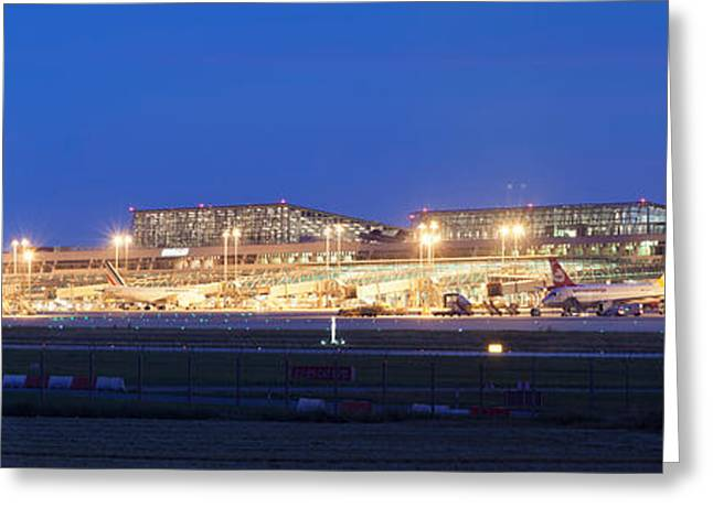 Airport At Night, Stuttgart Airport Greeting Card by Panoramic Images